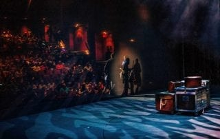 A performance of the art of magic in a theatre. Photograph by Andrew Klazinga