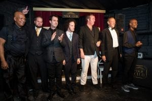 Magicians 'Magic Man', Marcel Oudejans (Founder), Bryan Miles, Jesse Brooks, Jacques le Sueur, Robin Boltman and Mawonga Gayiya at the launch of 'Monday Night Magic' Season 1 in March 2016. [Photo credit: Andrew Gorman]