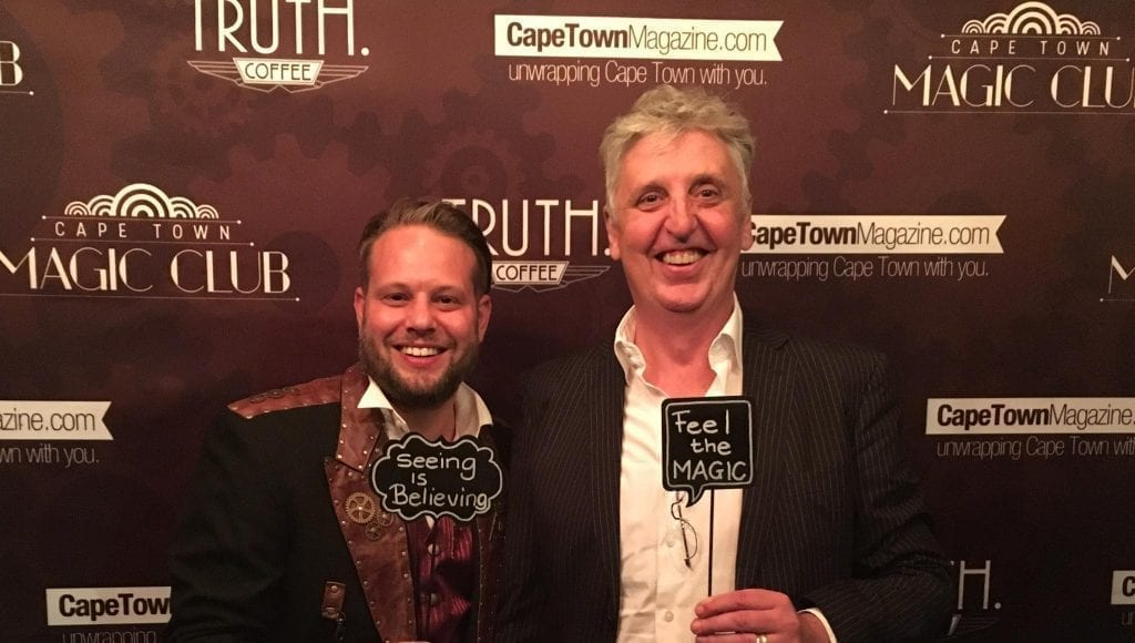 Johann Kupferburger (r), Magic Africa Productions new theatre liason, poses with Marcel Oudejans, Founder & Executive Producer of Cape Town Magic Club, at the opening of Monday Night Magic Season 3
