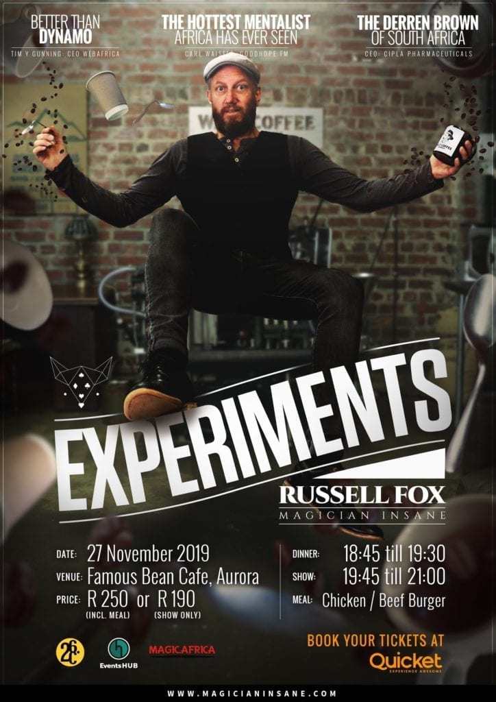 """Russell Fox in """"Experiments"""" show in Aurora, Cape Town"""