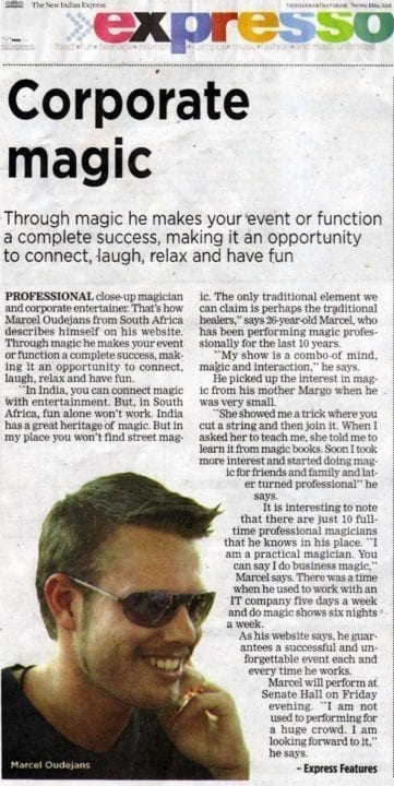 Marcel Oudejans : Interview in The New Indian Express 'Expresso' section, during Vismayam2008 convention, May 2008
