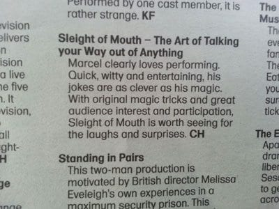 Sleight of Mouth review - Cue, National Arts Festival Fringe 2013