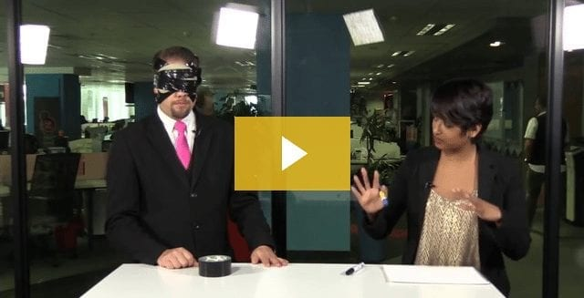 Marcel Oudejans performs a blindfolded effect on News24 video